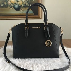 Michael Kors large black satchel bag